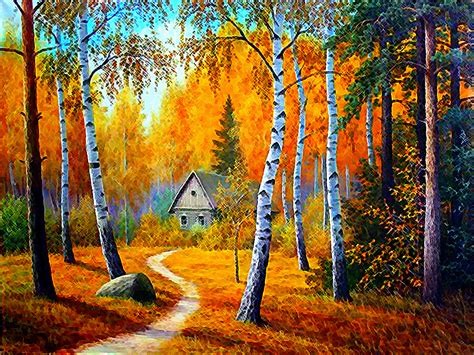 Autumn Woods Cabin Paintings