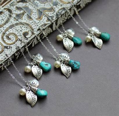 Jewelry Bridesmaid Personalized Custom Bridal Monogram Turquoise