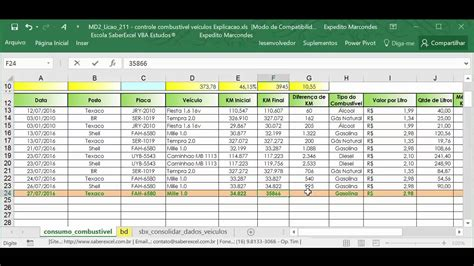 excel vba planilha controle combustivel veiculos youtube