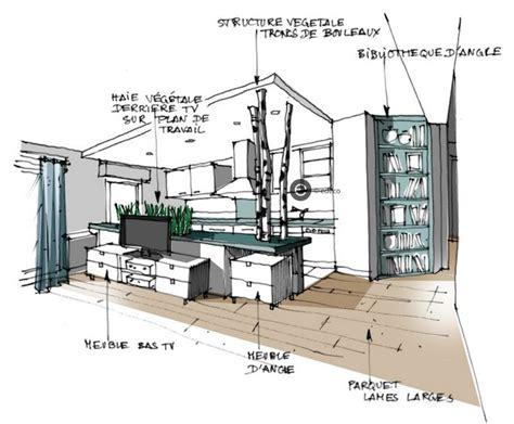 croquis cuisine croquis architecture intérieure cuisine ouverte