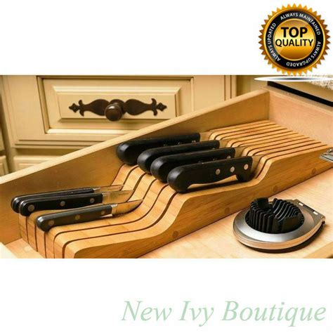 Knife Block Set In Drawer Organizer Bamboo Kitchen New 16
