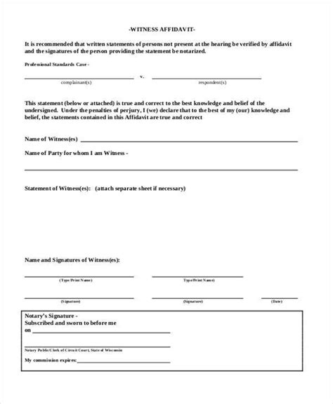 witness affidavit form 30 images of in witness of notary form template