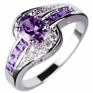 purple amethyst wedding rings womens 10kt white gold With purple wedding rings for women
