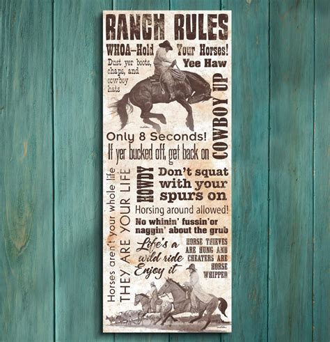 Ranch Rules Wrapped Canvas Wall Art