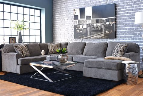 living spaces couches loric smoke 3 sectional w raf chaise living spaces
