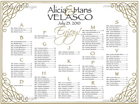 seating chart templates  wedding reception