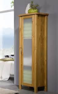 badezimmer hochschrank holz badezimmer schrank bad möbel glas vitrine hochschrank massiv holz kiefer honig ebay
