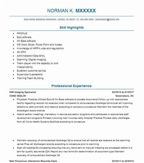Him Specialist Resume by Outpatient Coder Resume Exle Archbold