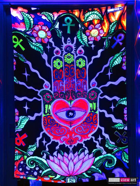 details about hamsa eye hand psychedelic art uv blacklight
