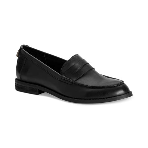 lyst calvin klein shoes sabria loafers  black