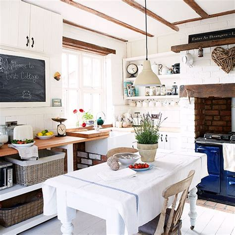White Country Kitchen Diner With Blue Aga  Kitchen