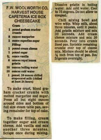 woolworths icebox cheesecake retro recipes  recipes