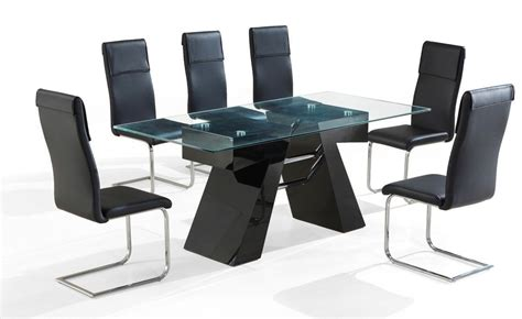 modern black dining table and chairs modern black high gloss clear glass dining table and 6 chairs