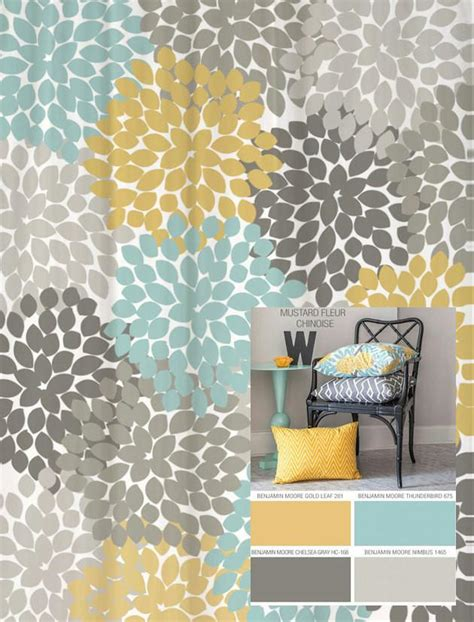 dahlia floral shower curtain in yellow blues and grays