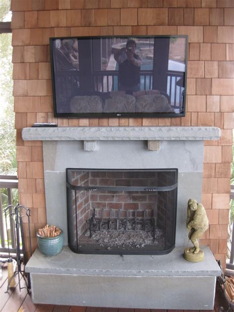 outdoor porch fireplace bluestone traditional porch