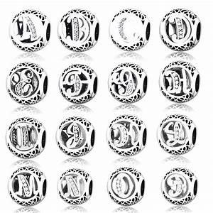 2017 diy fit original pandora charms bracelet alphabet With pandora letter beads