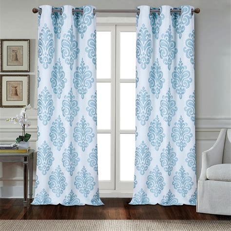 Aqua Drapery Panels by Dainty Home Marquise 84 In Aqua Polyester Textured