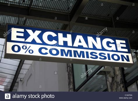 bureau de change 0 commission exchange sign in