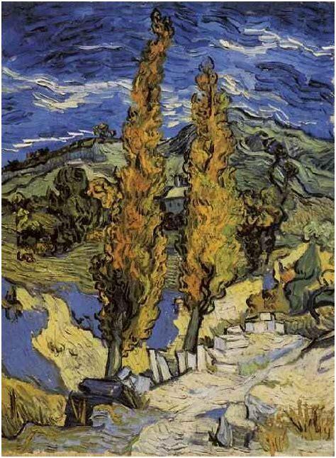 poplars   road   hills  vincent van