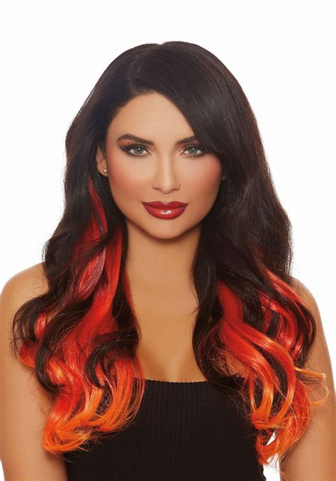 Long Straight 3 Piece Ombre Burgredorange Hair Extensions