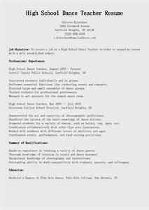 sample resume of a teacher in high school - resume samples high school dance teacher resume sample
