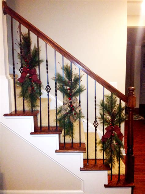 Christmas Swags Tied  Stair Railing   Wrapping