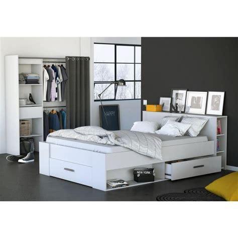 lit adulte avec rangement integre oxygene lit adulte rangements 140x190 blanc achat vente structure de lit oxygene lit 140 x