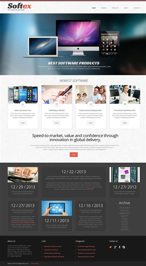 website template  software company template