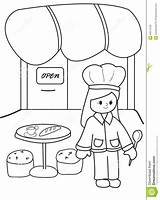 Coloring Chef Restaurant Hand Illustration Drawn Isolated Uniform Happy Background Chefs sketch template