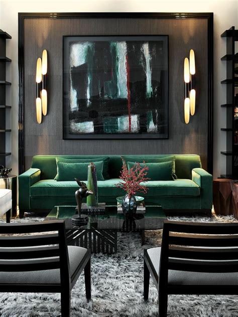 Go Bold! Emerald & Black Living Room, Bold, Sexy, Abstract