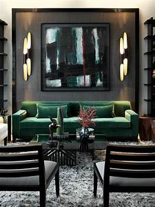 Go bold! emerald & black living room, bold, sexy, abstract ...