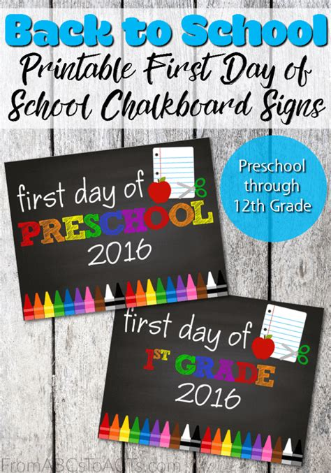 day of school chalkboard template printable day of school signs from abcs to acts