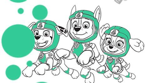 paw patrol sea patrol underwater trio colouring page