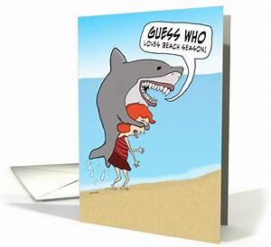 Funny, Shark, On, Beach, Birthday, Card, 1372696