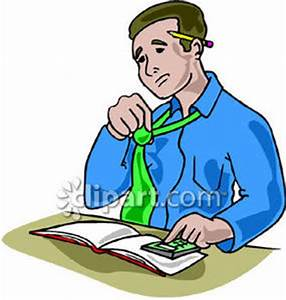 Nervous Man Balancing His Books - Royalty Free Clipart Picture