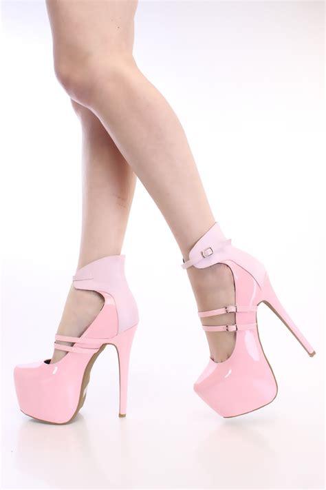 light pink heels light pink strappy platform heels patent