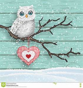Cute Christmas Owl Sitting On The Branch Vector ...