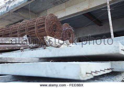 building materials stored   construction site stock