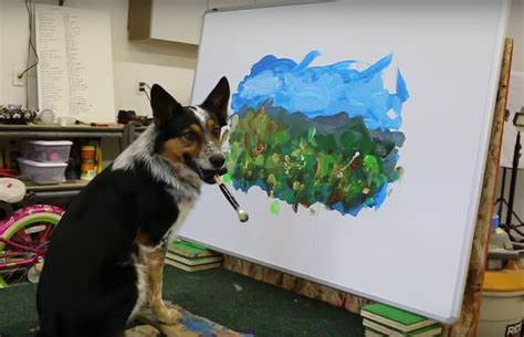 somebodys  watching bob ross jumpy  dog paints