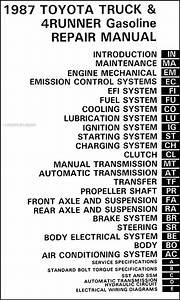 1987 Toyota Pickup Truck And 4runner Repair Shop Manual
