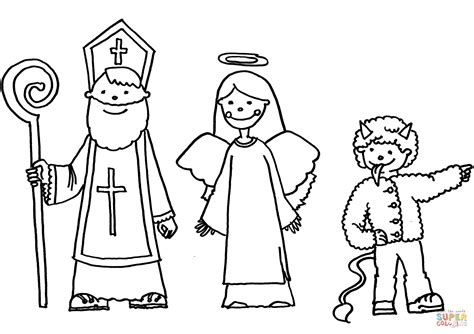 St Nicholas Angel And Devil Coloring Page Free