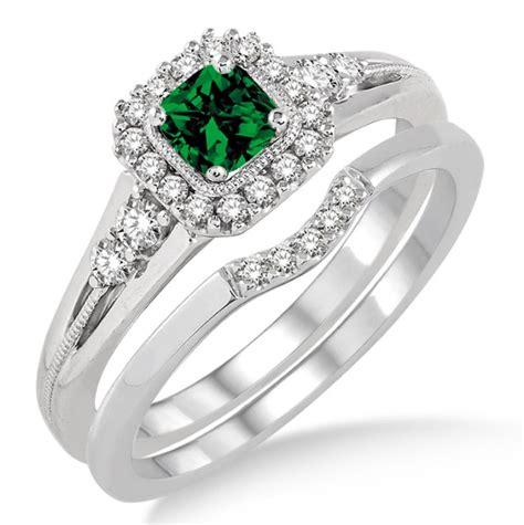 carat emerald diamond bridal set halo engagement