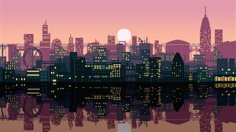 City Animated Wallpaper - pixel city 2560x1440 oc wallpapers pixel city