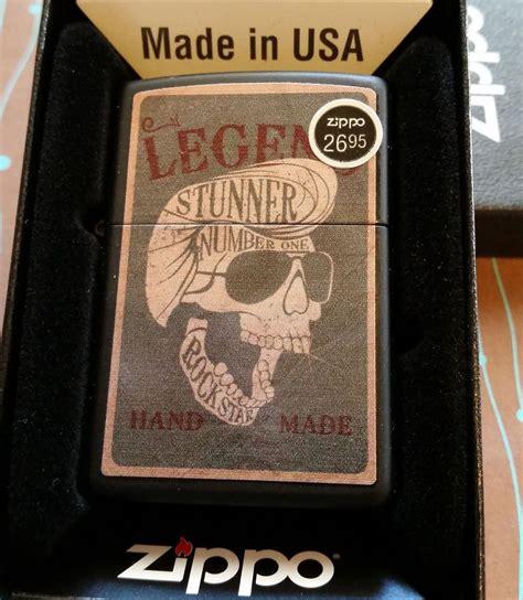zippo  skull black matte  release   box