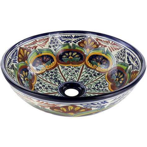 mexican hand painted sinks mexican tile puebla round vessel above the counter
