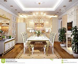 Küche Und Esszimmer : luxuri se klassische barocke k che und esszimmer stock abbildung illustration von kondominium ~ Markanthonyermac.com Haus und Dekorationen