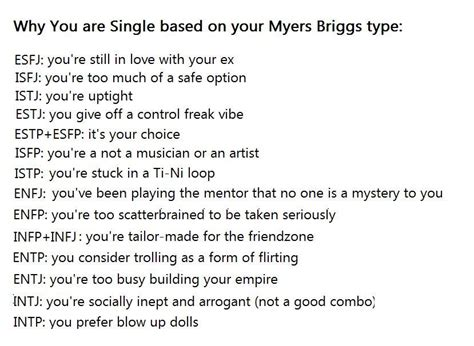 Mbti Humor And Memes ... Why You Are Single Based On Your
