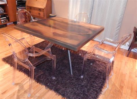 ghost chairs with wood table how to build a reclaimed wood table and steel base