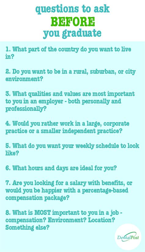 questions to ask yourself before you graduate from dental