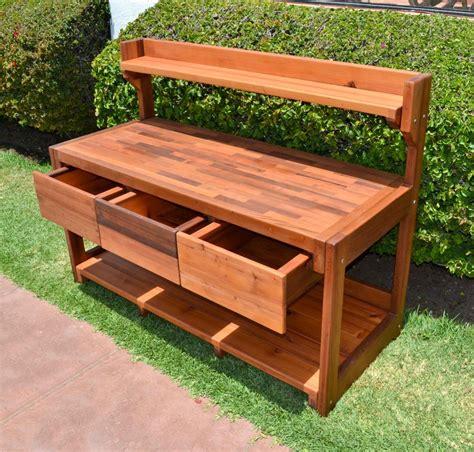 outdoor potting bench redwood potting bench custom outdoor wood bench